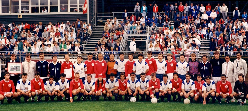 Croatia Brihovo and Croatia Hamilton before their friendly on June 16, 1989 in front of a capacity crowd at Brian Timmis (Click to enlarge).