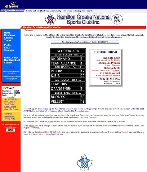 Screenshot of our home page in 2001 (Click to enlarge).