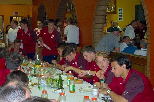 Croatian U21s eat dinner at the Club on June 13, 2005 (Click to enlarge).